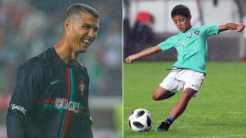 Cristiano Ronaldo has high hopers for his young son. Pic GettyMore