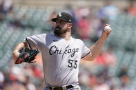 Chicago White Sox starting pitcher Carlos Rodon throws during the first inning of a baseball game against the Detroit Tigers, Sunday, June 13, 2021, in Detroit. (AP Photo/Carlos Osorio)