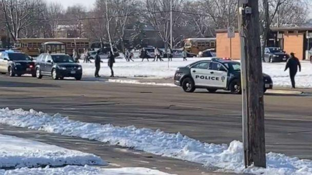 PHOTO: Students exit Oshkosh West High School in Wisconsin after an officer-involved shooting, Dec. 3, 2019. (Obtained by ABC News)
