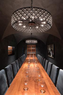 The private dining room at Pullman Wine Bar & Merchant seats up to 24 guests in a wine cave-like setting.