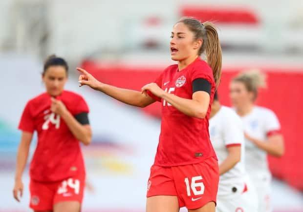 Canada forward Janine Beckie is seen during a friendly match against England in Stoke-on-Trent in April. (Catherine Ivill/Getty Images - image credit)