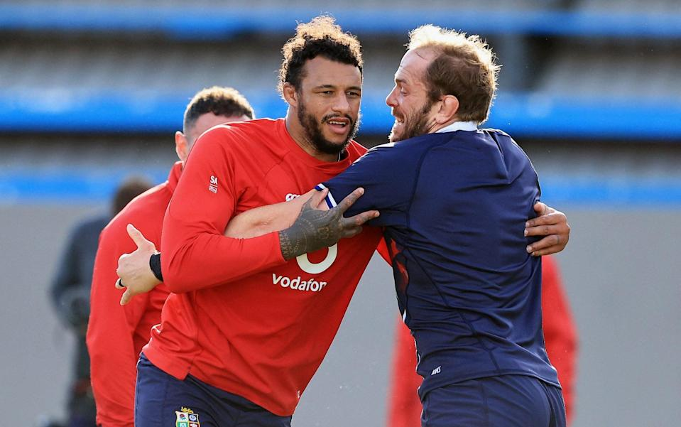 British and Irish Lions' flanker Courtney Lawes (2nd R) and British and Irish Lions' lock Alun Wyn Jones (R) attend a training session at The Hermanus High School on the outskirts of Cape Town on July 20, 2021, ahead of the first Test match against South Africa on July 24. - AFP