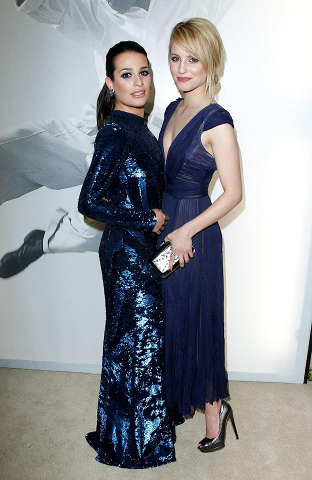 "Back at the Vanity Fair fete, Lea Michele (in a sequined Roberto Cavalli creation) got cozy with her ""Glee"" co-star Dianna Agron, who looked fab in a royal blue dress and loose updo."