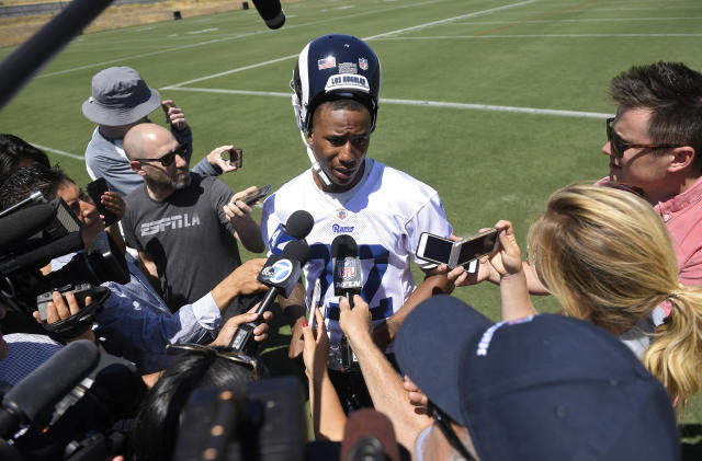 Los Angeles Rams cornerback Marcus Peters rarely is at a loss for words. (AP)