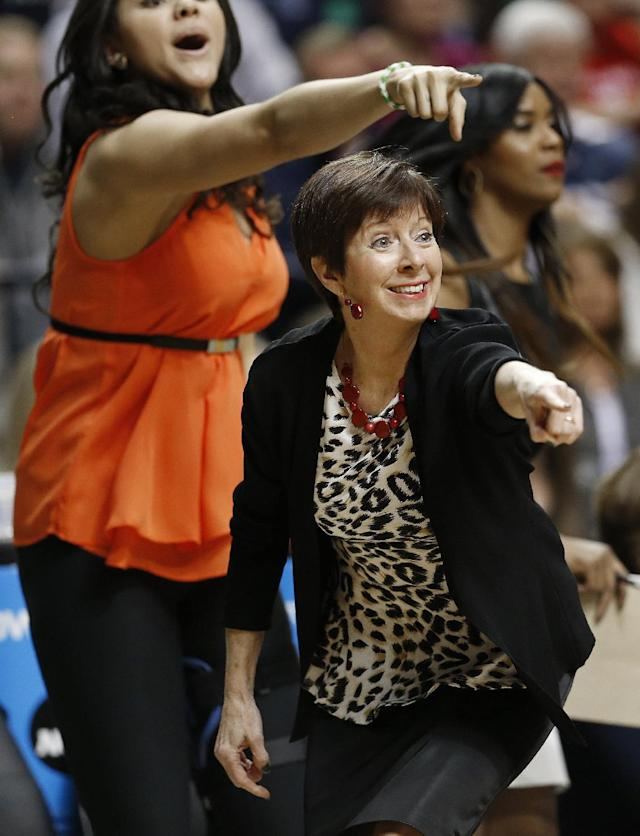 Notre Dame head coach Muffet McGraw works against Connecticut during the first half of the championship game in the Final Four of the NCAA women's college basketball tournament, Tuesday, April 8, 2014, in Nashville, Tenn. (AP Photo/Mark Humphrey)
