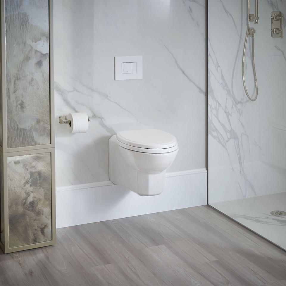 """<p><strong>Belshire Collection</strong></p><p>dxv.com</p><p><strong>$695.00</strong></p><p><a href=""""https://www.dxv.com/product/belshire-wall-hung-dual-flush-toilet-with-seat"""" rel=""""nofollow noopener"""" target=""""_blank"""" data-ylk=""""slk:Shop Now"""" class=""""link rapid-noclick-resp"""">Shop Now</a></p><p>Ditch the dirty handles and make it easier to conserve water with this </p>"""