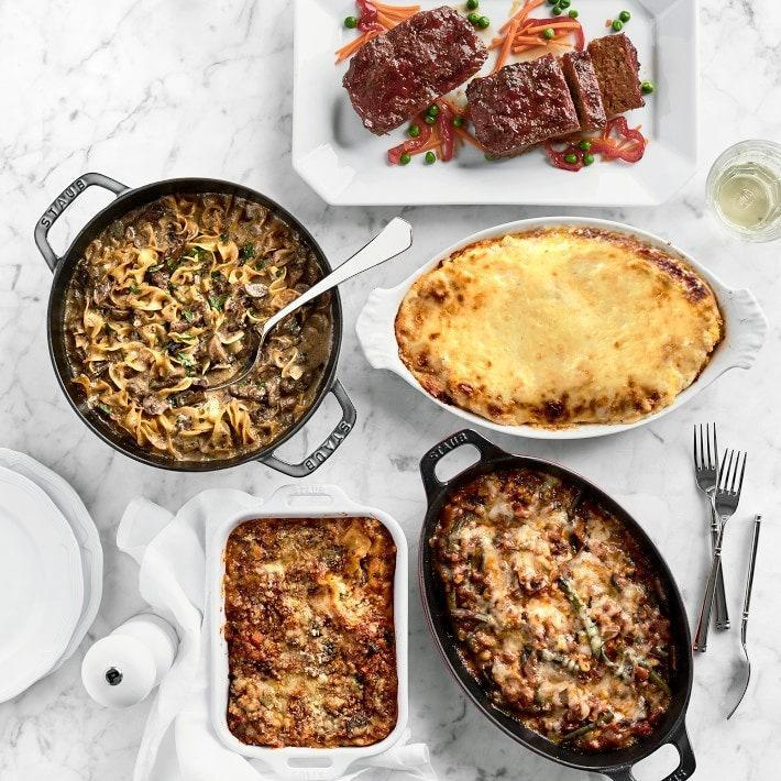 """Treat any pregnant woman to a postpartum food delivery with meals she can freeze, and she'll be thanking you for that more than a baby onesie during her first week at home. <em>—E.P.</em> $205, Williams Sonoma. <a href=""""https://www.williams-sonoma.com/products/elephant-delicatessen-five-days-of-dinner/"""" rel=""""nofollow noopener"""" target=""""_blank"""" data-ylk=""""slk:Get it now!"""" class=""""link rapid-noclick-resp"""">Get it now!</a>"""