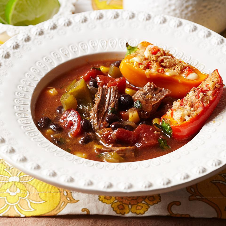 <p>This easy to make, flavorful Mexican-inspired beef soup is packed with protein to keep you feeling full and satisfied. Serve with a side of Suffed Mini Peppers to round out the meal.</p>