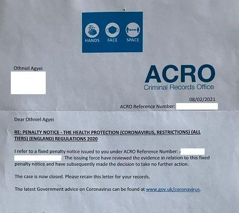The letter sent to Othniel Agyei confirming his case had been 'closed' (HMCTS)