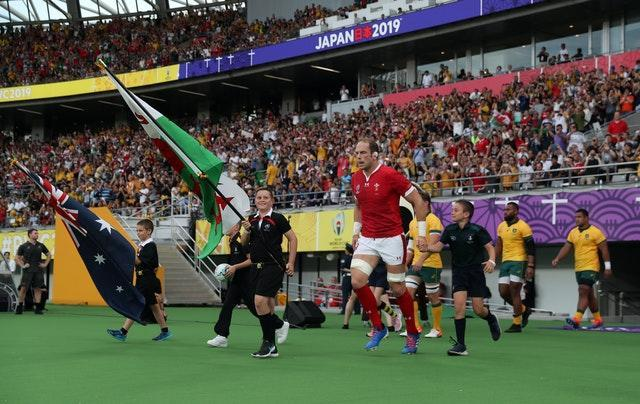 Alun Wyn Jones takes the field against Australia in Tokyo at the 2019 Rugby World Cup