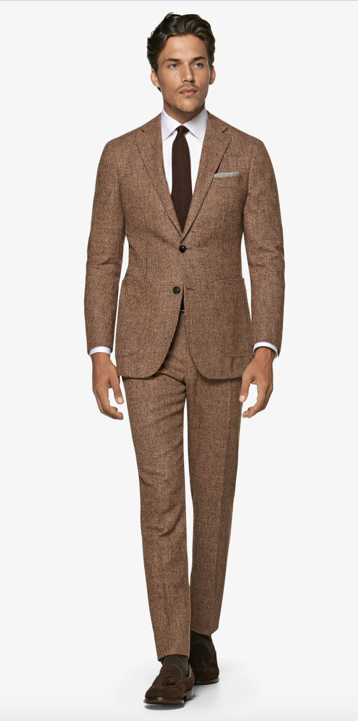 """<p><strong>Suitsupply</strong></p><p>suitsupply.com</p><p><strong>$350.00</strong></p><p><a href=""""https://outlet-us.suitsupply.com/en_US/suits/mid-brown-houndstooth-havana-suit/P6116.html"""" rel=""""nofollow noopener"""" target=""""_blank"""" data-ylk=""""slk:Buy"""" class=""""link rapid-noclick-resp"""">Buy</a></p>"""