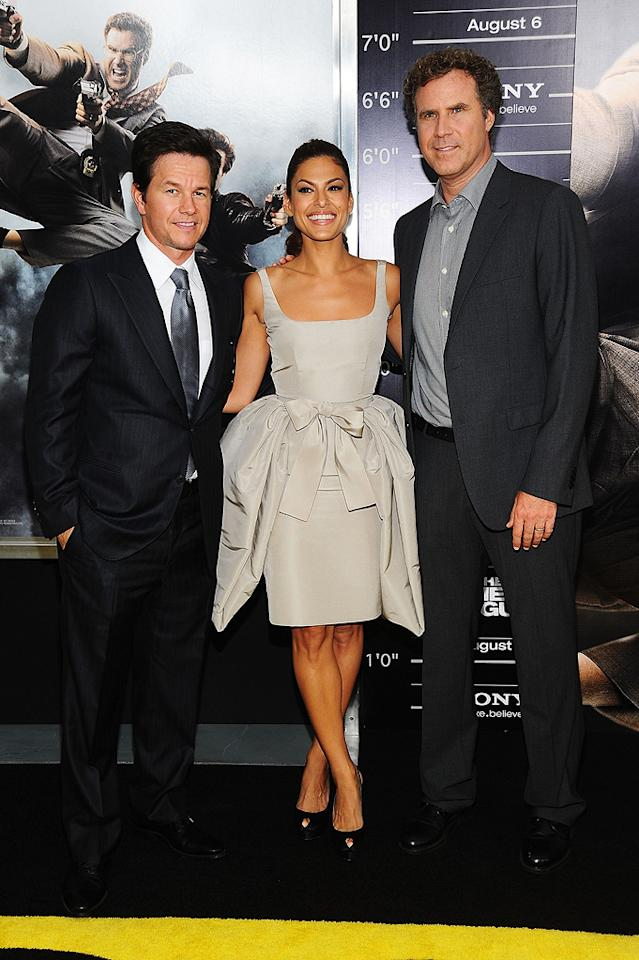"""<a href=""""http://movies.yahoo.com/movie/contributor/1800019716"""">Mark Wahlberg</a>, <a href=""""http://movies.yahoo.com/movie/contributor/1802957206"""">Eva Mendes</a> and <a href=""""http://movies.yahoo.com/movie/contributor/1800019430"""">Will Ferrell</a> at the New York City premiere of <a href=""""http://movies.yahoo.com/movie/1810116447/info"""">The Other Guys</a> - 08/02/2010"""
