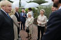 <p>At the reception, Her Majesty and other senior royals, including Prince Charles, met with the G7 leaders. Here she is, meeting with the President and First Lady Jill Biden. </p>