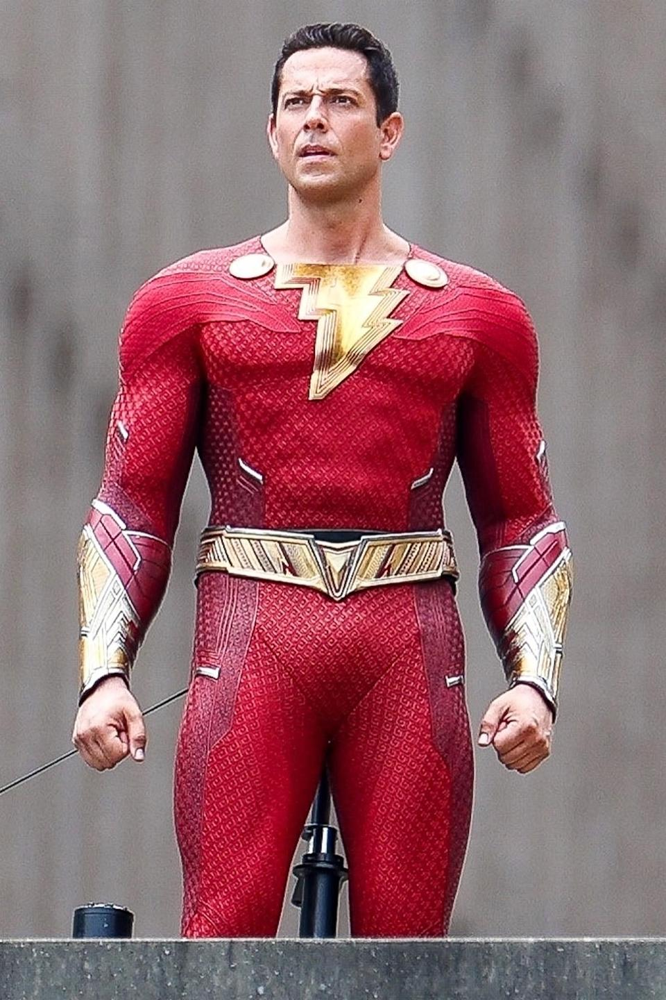 <p>Zachary Levi is seen in costume filming<i> Shazam! Fury of the Gods</i> on June 3 in Union City, Georgia. </p>