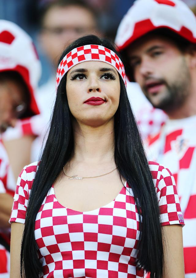 <p>Football fans supporting Croatia during a 2018 FIFA World Cup First Stage Group D football match between Croatia and Nigeria at Kaliningrad Stadium. Peter Kovalev/TASS (Photo by Peter Kovalev\TASS via Getty Images) </p>