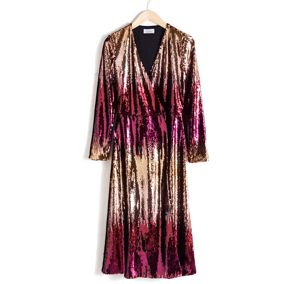 """$149, & Other Stories. <a href=""""https://www.stories.com/en_usd/clothing/dresses/midi-dresses/product.ombr%C3%A9-sequin-midi-dress-red.0683794001.html"""">Get it now!</a>"""