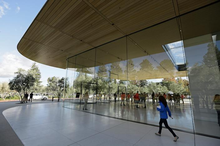 <br>An exterior view of the Apple Park Visitor Center in Cupertino, California.