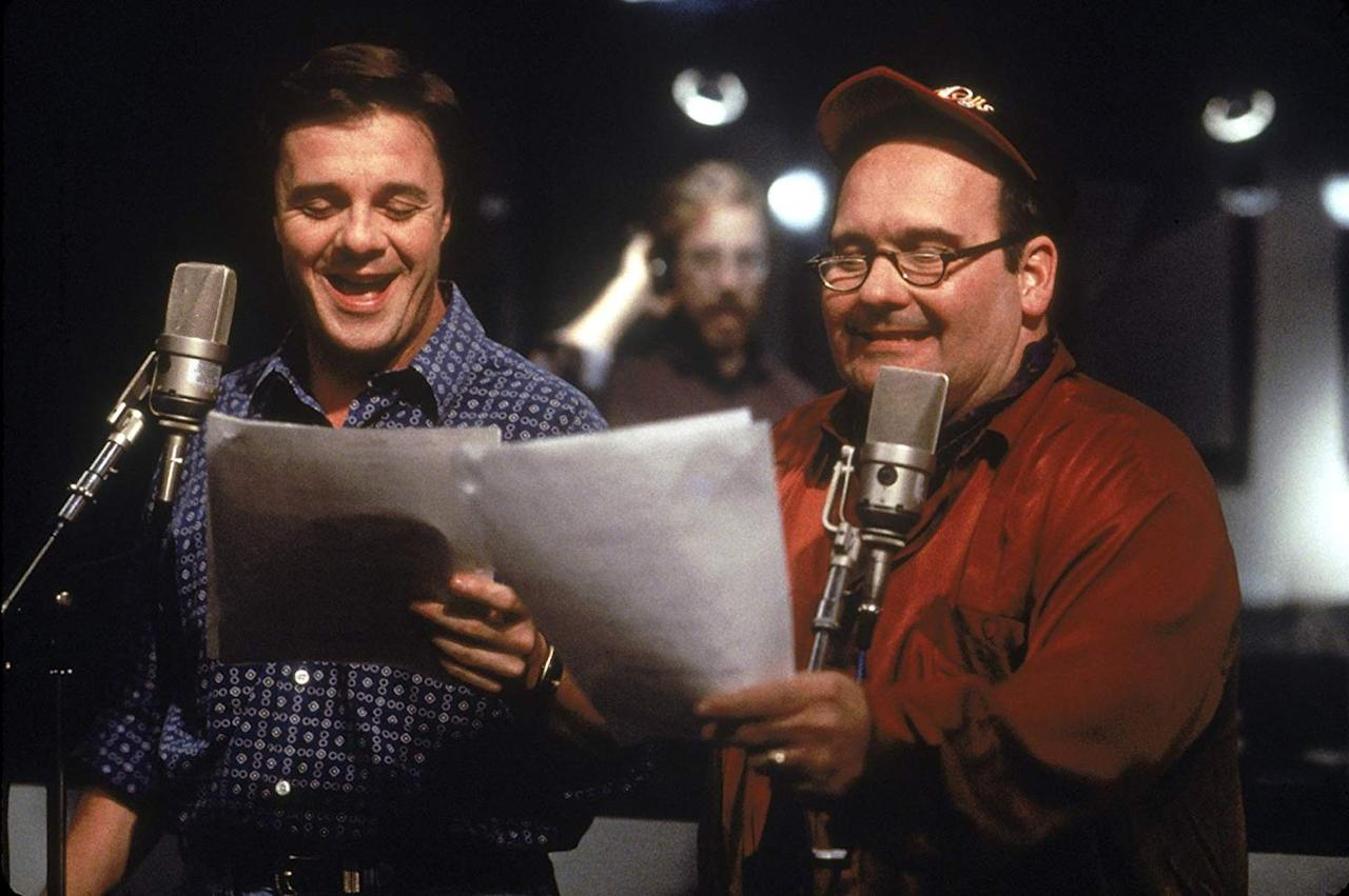 <p>Lane as the voice of Timon and Sebella as the voice of Pumbaa in a recording session for the 1994 classic. </p>