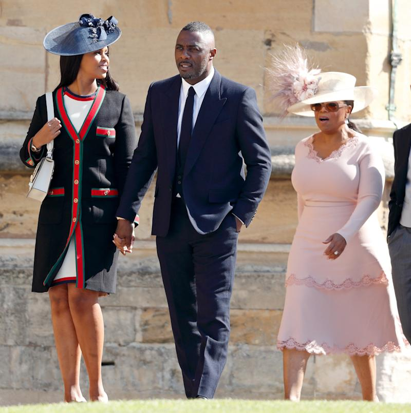 Guests at Prince Harry's wedding included Oprah Winfrey (right), Idris Elba and his fiancée Sabrina Dhowre. (Max Mumby/Indigo via Getty Images)