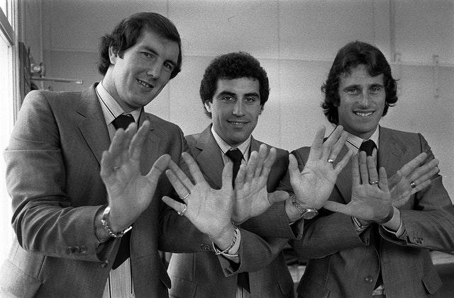 Ray Clemence (right) with fellow England goalkeepers Joe Corrigan and Peter Shilton