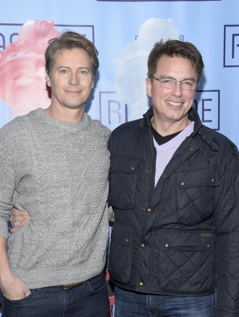 """PASADENA, CALIFORNIA - FEBRUARY 10: Scott Gill and John Barrowman attend the opening night performance of """"Ragtime"""" at Pasadena Playhouse on February 10, 2019 in Pasadena, California. (Photo by Michael Tullberg/Getty Images)"""