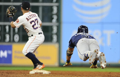 Evan Longoria needed a double to complete the cycle, so he went into second base head first to try to get it. (AP)