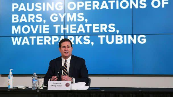 PHOTO: Arizona Gov. Doug Ducey announces a new executive order in response to the rising COVID-19 cases in the state, during a news conference in Phoenix on Monday, June 29, 2020. (Michael Chow/The Arizona Republic via AP)
