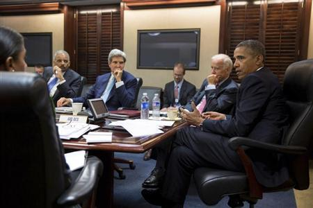 Handout of U.S. President Obama meeting with national security staff to discuss Syria in White House