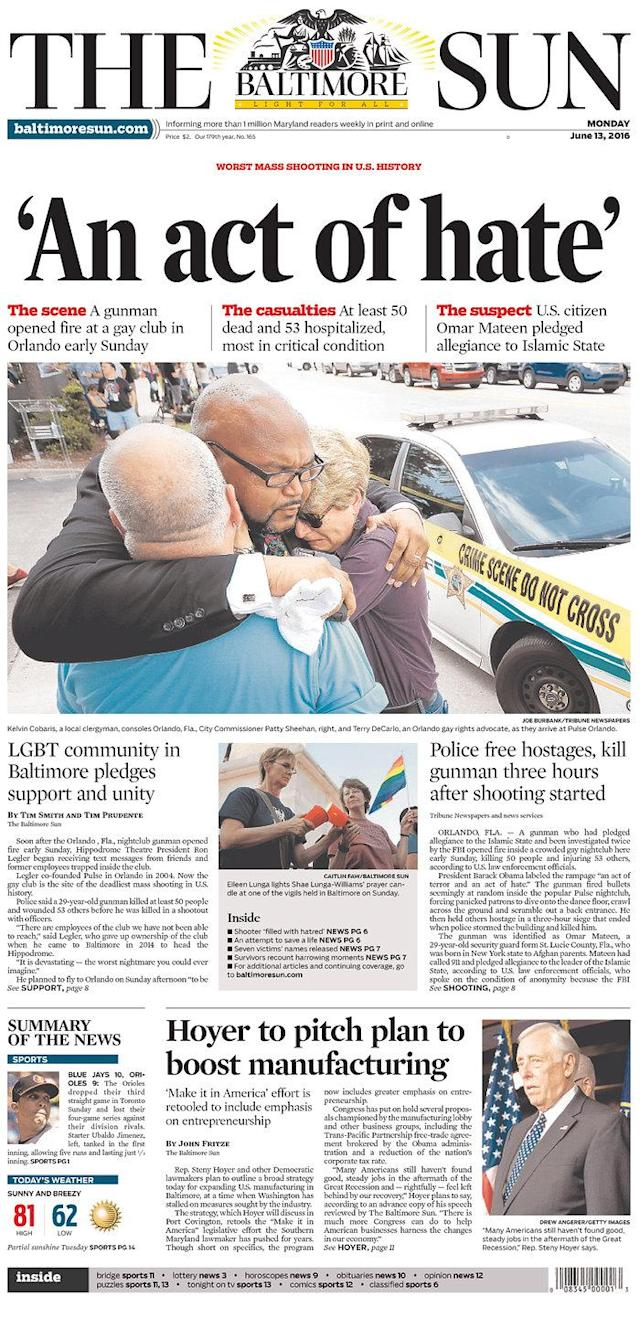 <p>The Baltimore Sun<br> Published in Baltimore, Md. USA. (newseum.org) </p>
