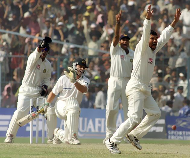 Sachin Tendulkar of India claims the wicket of Adam Gilchrist of Australia LBW, during day five of the 2nd Test between India and Australia played at Eden Gardens, Calcutta, India. X DIGITAL IMAGE  Mandatory Credit: Hamish Blair/ALLSPORT