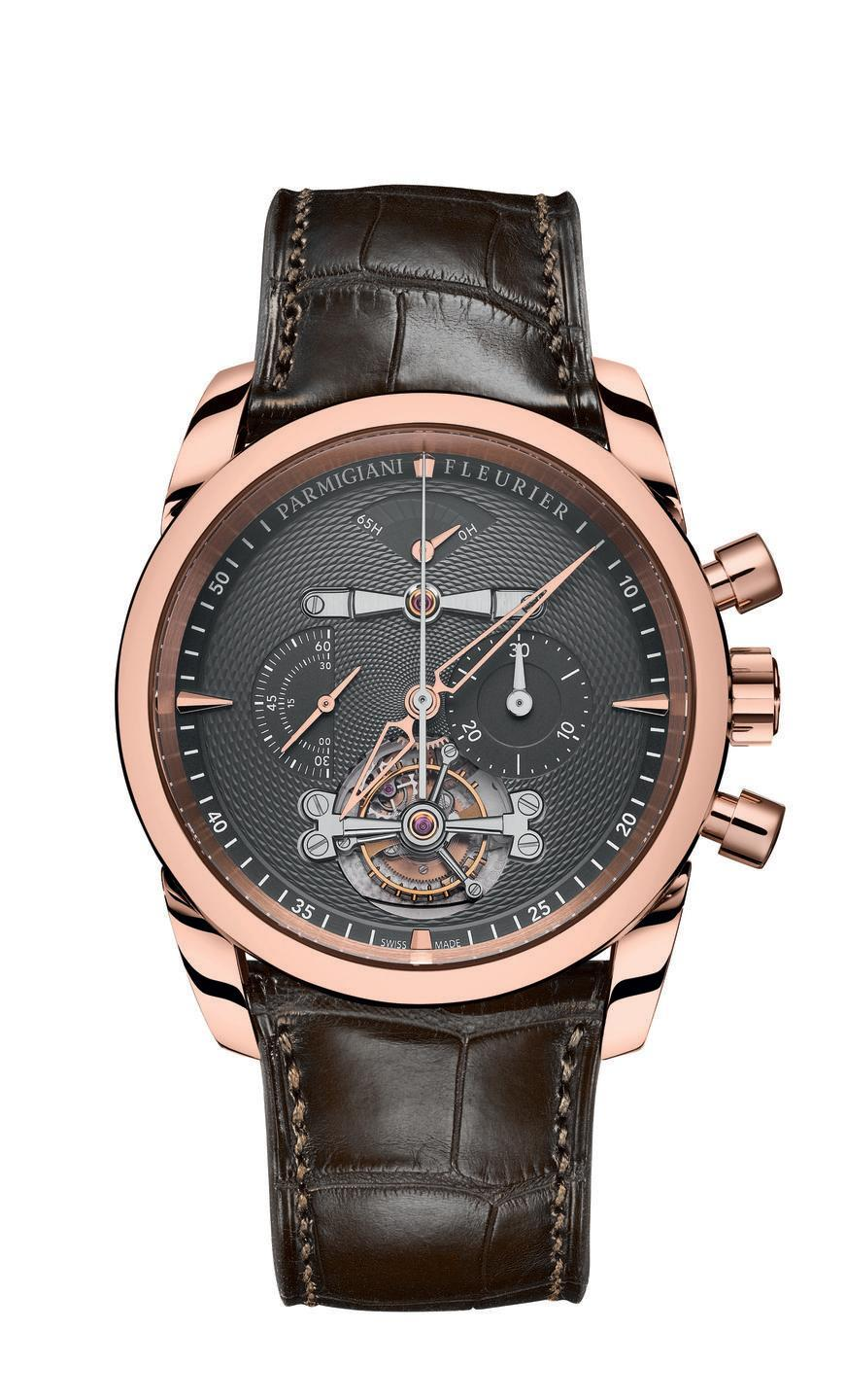 "<p>Master watchmaker Michel Parmigiani creates artistically beautiful timepieces both inside and out. The new rose gold Tondagraphe Tourbillon features a slate-color dial decorated with traditional <em>grain de riz</em> (French for grain of rice) guilloché artistry. It is powered by an extraordinary mechanical movement comprised of 295 components with a power reserve of 65 hours. The beauty of the decorated, hand-finished movement is visible through the sapphire crystal back. <em>($199,000)</em></p><p><a class=""link rapid-noclick-resp"" href=""https://www.parmigiani.com/en/watch/tonda/tondagraphe/pfh236-1000200-ha1241"" rel=""nofollow noopener"" target=""_blank"" data-ylk=""slk:Learn More"">Learn More</a></p>"