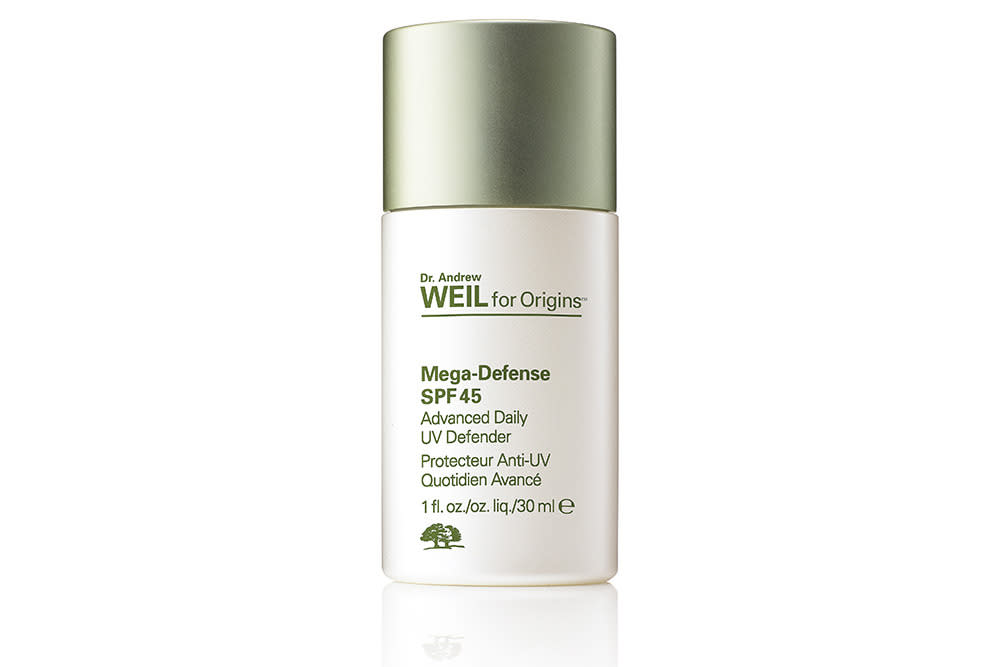 """<p>This is a lovely, light protector that goes over your regular moisturiser and absorbs quickly. It's untinted and doesn't feel sticky or heavy. Ideal for all skin types it provided protection without clogging pores for our testers. A little goes a long way and it also combats pollution and skin irritants. Highly recommended.</p><p><a href=""""https://www.origins.co.uk/product/16832/39025/skincare/See-All-Skincare/Dr-Andrew-Weil-for-Origins/Mega-Defense-Advanced-Daily-UV-Defender-SPF-45"""">Origins.co.uk, £39</a></p>"""