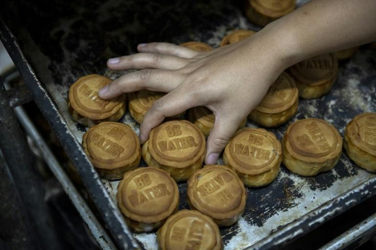 Mooncakes at Naomi Suen's bakery are printed with the message 'Be Water' -- an iconic slogan in Hong Kong's pro-democracy protests