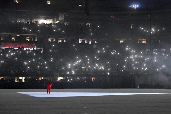 Kanye West is seen at 'DONDA by Kanye West' listening event at Mercedes-Benz Stadium on July 22, 2021 in Atlanta, Georgia. (Photo by Paras Griffin/Getty Images for Universal Music Group)