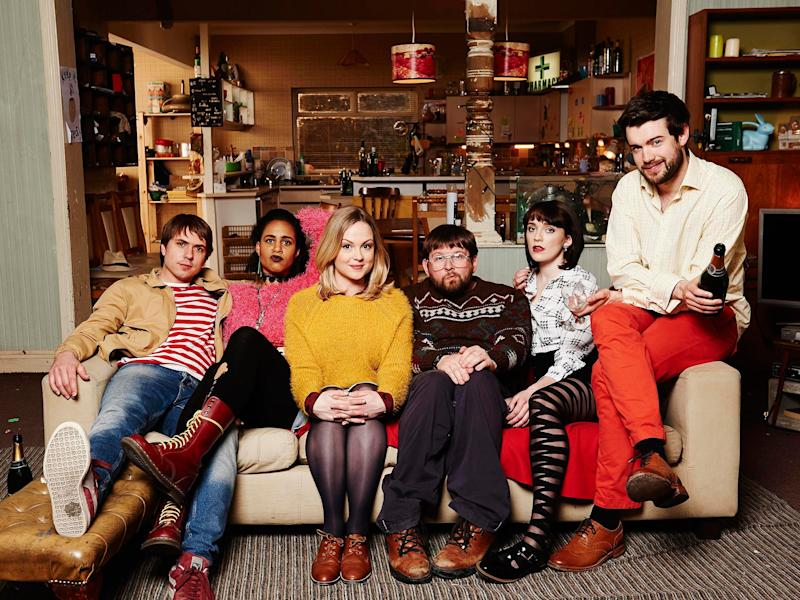 The cast of 'Fresh Meat' from left: Joe Thomas as Kingsley, Zawe Ashton as Vod, Kimberley Nixon as Josie, Greg McHugh as Howard, Ritchie as Oregon and Jack Whitehall as JPChannel 4