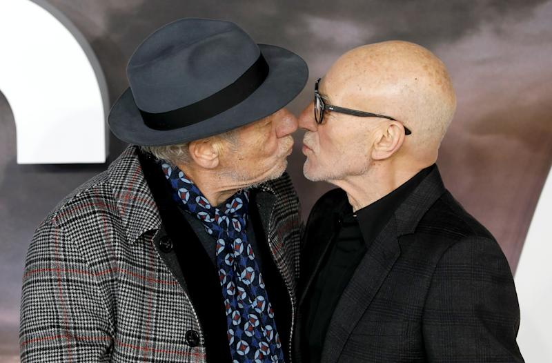 Sir Ian McKellen (left) and Sir Patrick Stewart attending the Star Trek: Picard Premiere held at the Odeon Luxe Leicester Square, London. (Photo by David Parry/PA Images via Getty Images)