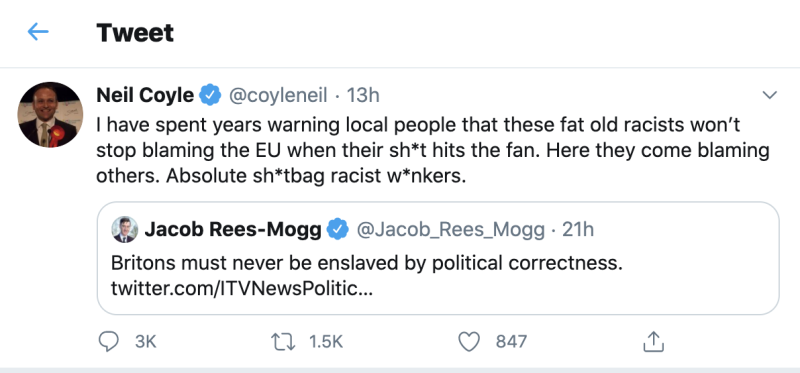 Neil Coyle's tweet, removed by Wednesday afternoon. (Twitter)
