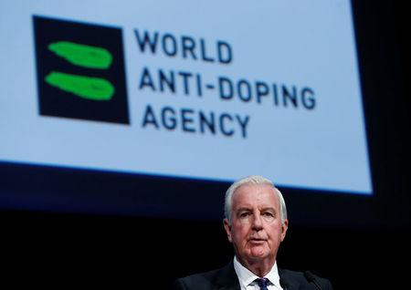 Craig Reedie, President of the World Anti Doping Agency (WADA) addresses the WADA Symposium in Ecublens, Switzerland, March 13, 2017. REUTERS/Denis Balibouse