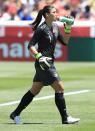 Goalkeeper Hope Solo #1 of the USA takes a drink during a game against Canada during the second half of the women's Olympic send-off soccer match June 30, 2012 at Rio Tinto Stadium in Sandy, Utah. The USA beat Canada 2-1. (Photo by George Frey/Getty Images)