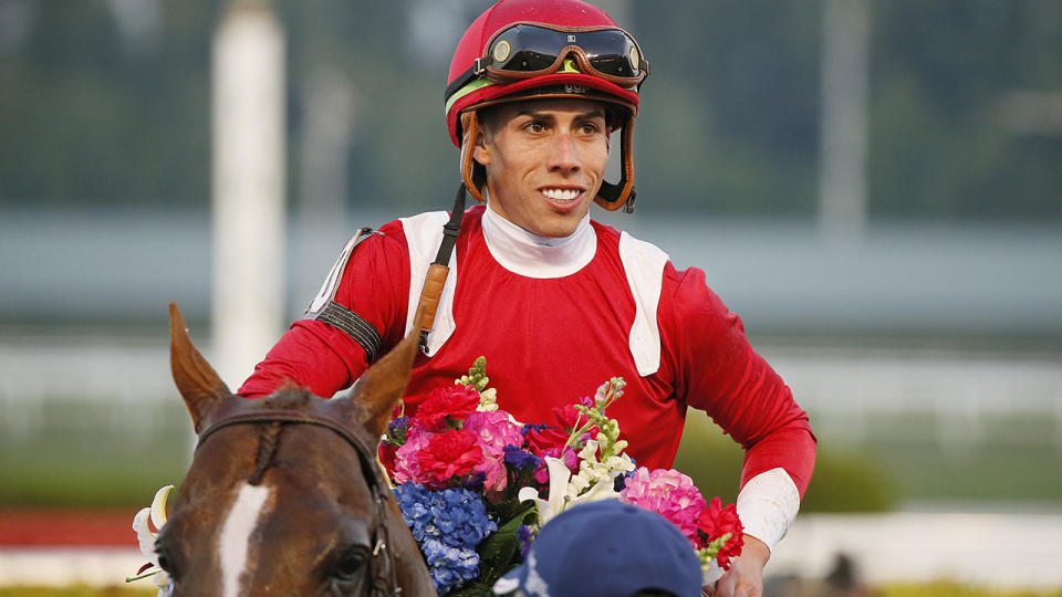 Irad Ortiz Jr, pictured here after winning the 2020 Pegasus World Cup Invitational.