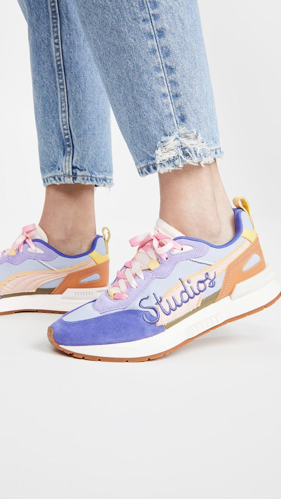 """<p><span>Puma x KidSuper Mirage Mox Sneakers</span> ($130)</p> <p>""""The pastel colorway of these Veja sneakers is so dreamy. I'll wear them with a simple tee and jeans so they can get all the attention."""" - Macy Cate Williams, senior editor, Shop</p>"""