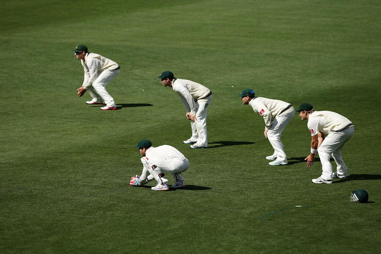HOBART, AUSTRALIA - DECEMBER 16:  Australia slips cordon line up during day three of the First Test match between Australia and Sri Lanka at Blundstone Arena on December 16, 2012 in Hobart, Australia.  (Photo by Matt King/Getty Images)