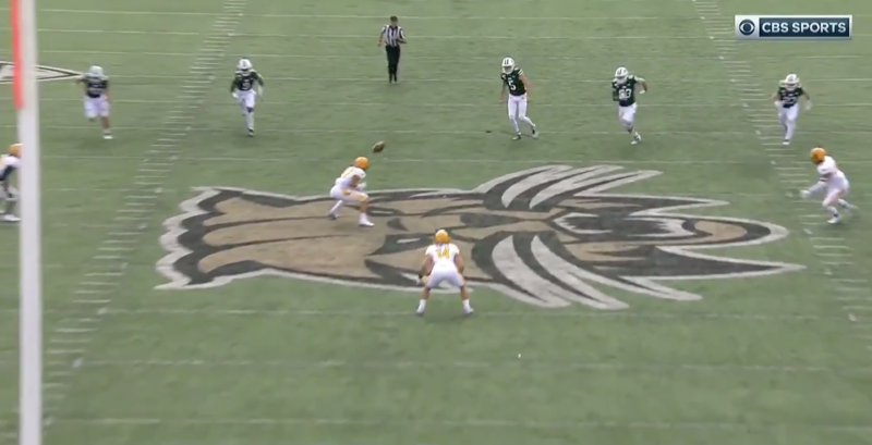 Yes, that hit a Kent State player's head. (via CBS Sports Network)