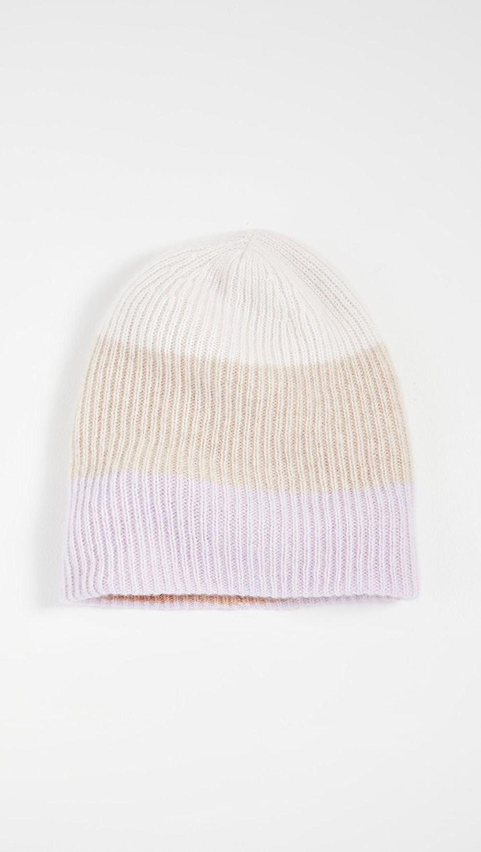 <p>Get cozy in this <span>White + Warren Colorblocked Plush Rib Cashmere Beanie</span> ($160).</p>