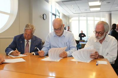 JNF-USA, The University of Arizona, and Israel's Southern Region sign MoU to support agriculture in developing countries. Pictured (L-R) JNF-USA President, Dr. Sol Lizerbram; JNF Joint Institute Project Co-Director, Udi Gat; and Dean, University of Arizona College of Science, Joaquin Ruiz Ph.D.