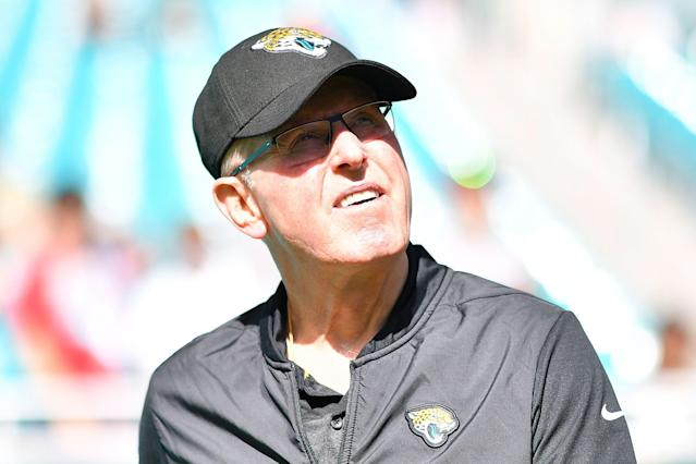 Looking for 100 percent participation: Jacksonville Jaguars vice president of football operations Tom Coughlin doesn't like that two players aren't present for voluntary workouts. (Getty Images)