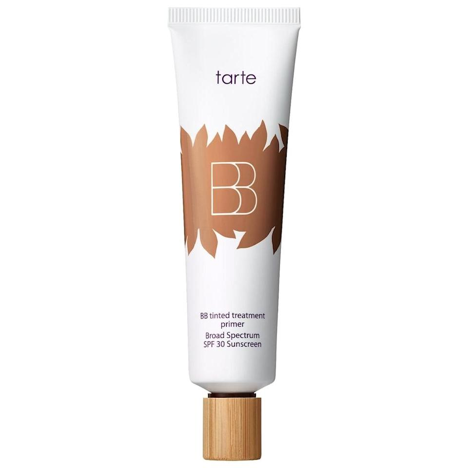 <p>The <span>tarte BB Tinted Treatment 12-Hour Primer Broad Spectrum SPF 30 Sunscreen</span> ($37) is a medium coverage matte finish tint with hydration!</p>