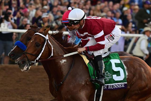 Gun Runner ridden by Florent Geroux wins the Breeders' Cup Classic on day two of the 2017 Breeders' Cup World Championship at Del Mar Race Track in California, on November 4 (AFP Photo/Harry How)