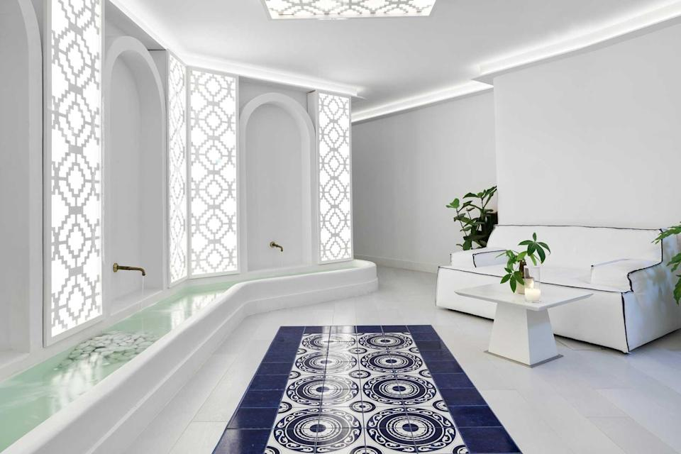 Blue and white spa room at the Katikies Mykonos hotel, voted one of the best hotels in the world