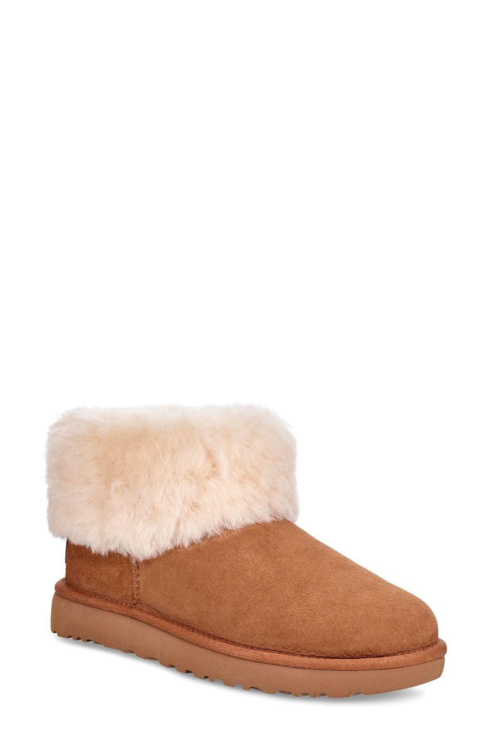 """<p><strong>UGG</strong></p><p>nordstrom.com</p><p><strong>$99.90</strong></p><p><a href=""""https://go.redirectingat.com?id=74968X1596630&url=https%3A%2F%2Fwww.nordstrom.com%2Fs%2Fugg-classic-mini-fluff-genuine-shearling-bootie-women%2F5324753&sref=https%3A%2F%2Fwww.elle.com%2Ffashion%2Fshopping%2Fg34741930%2Fnordstrom-12-days-of-cyber-savings-sale%2F"""" rel=""""nofollow noopener"""" target=""""_blank"""" data-ylk=""""slk:SHOP"""" class=""""link rapid-noclick-resp"""">SHOP</a></p><p><strong><del>$160</del></strong><strong> $32 (34% off)</strong></p>"""